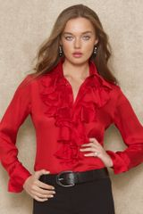 Blue Label Ruffled Silkgeorgette Blouse - Lyst