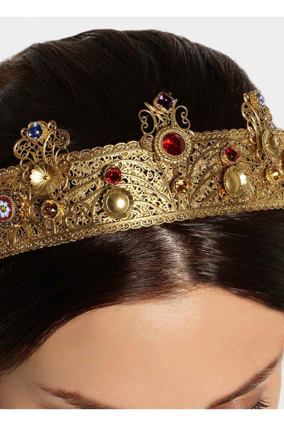Lyst Dolce Amp Gabbana Goldplated Swarovski Crystal Crown