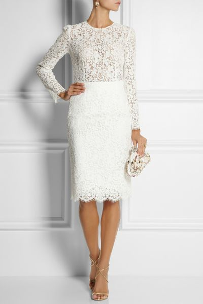 White Lace Dress Lace Pencil Skirt in White