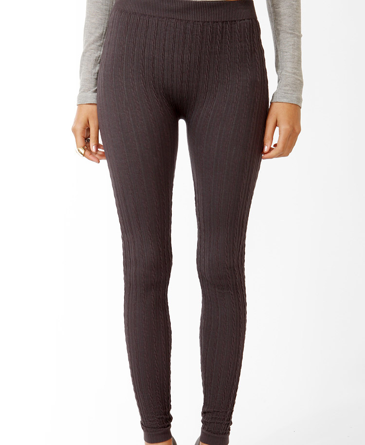 Forever 21 Cable Knit Sweater Leggings in Black | Lyst