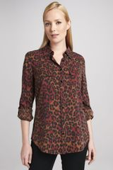 Go Silk Animalprint Silk Blouse - Lyst