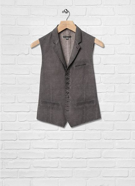 John Varvatos Notch Lapel Vest in Brown for Men (Chocolate)