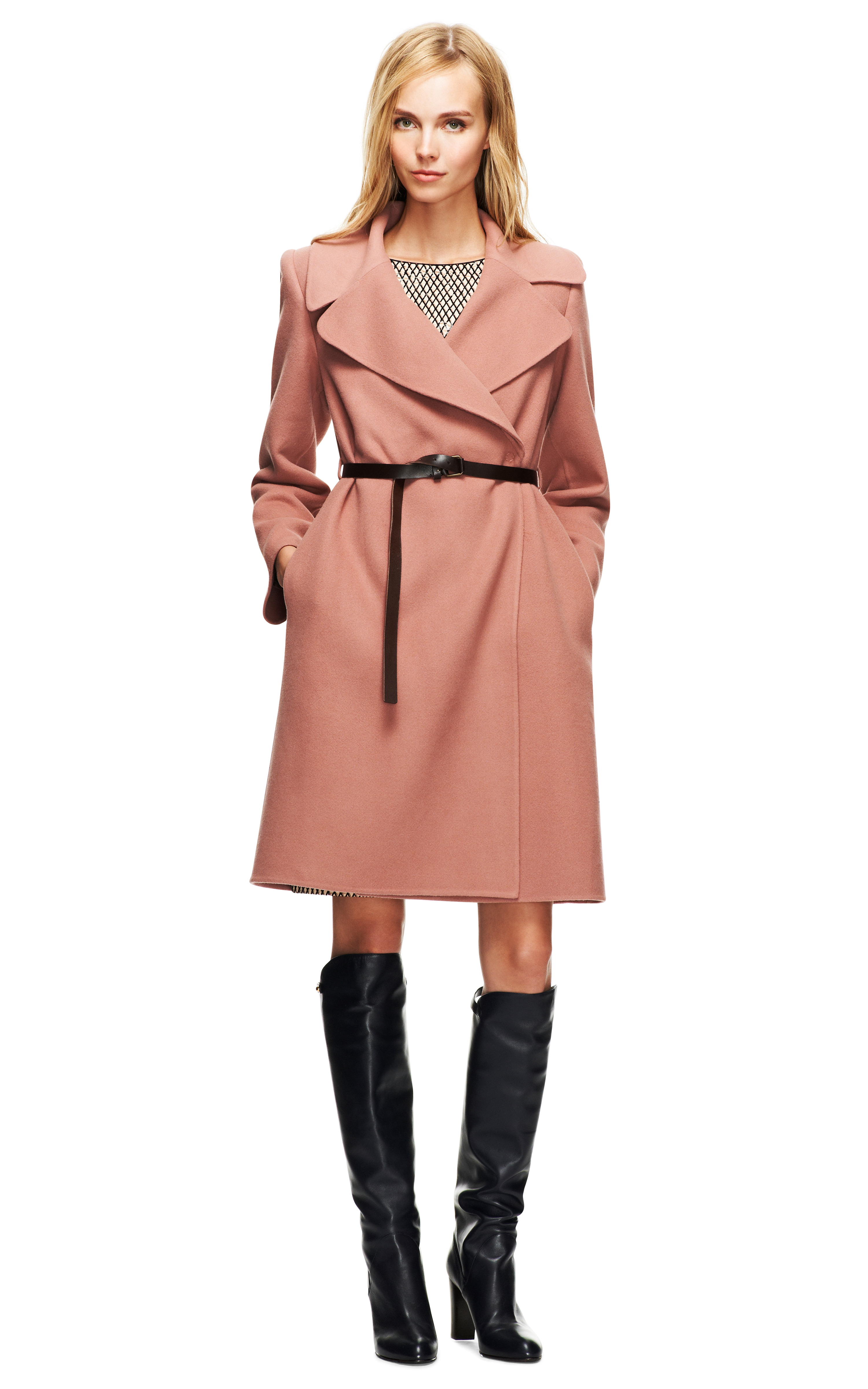 Marc jacobs Double Faced Cashmere Belted Coat in Pink   Lyst