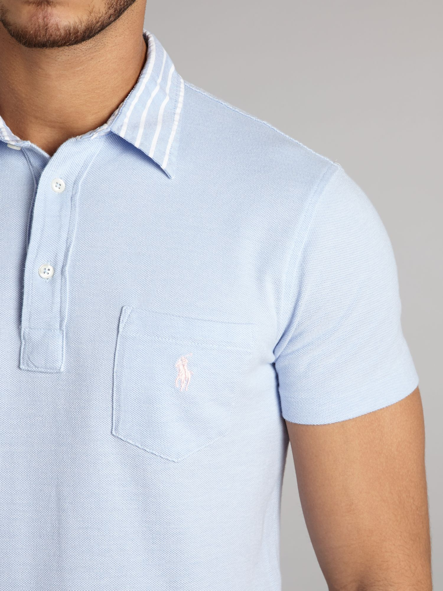 Lyst polo ralph lauren woven collar polo shirt with for Polo t shirts with pocket online