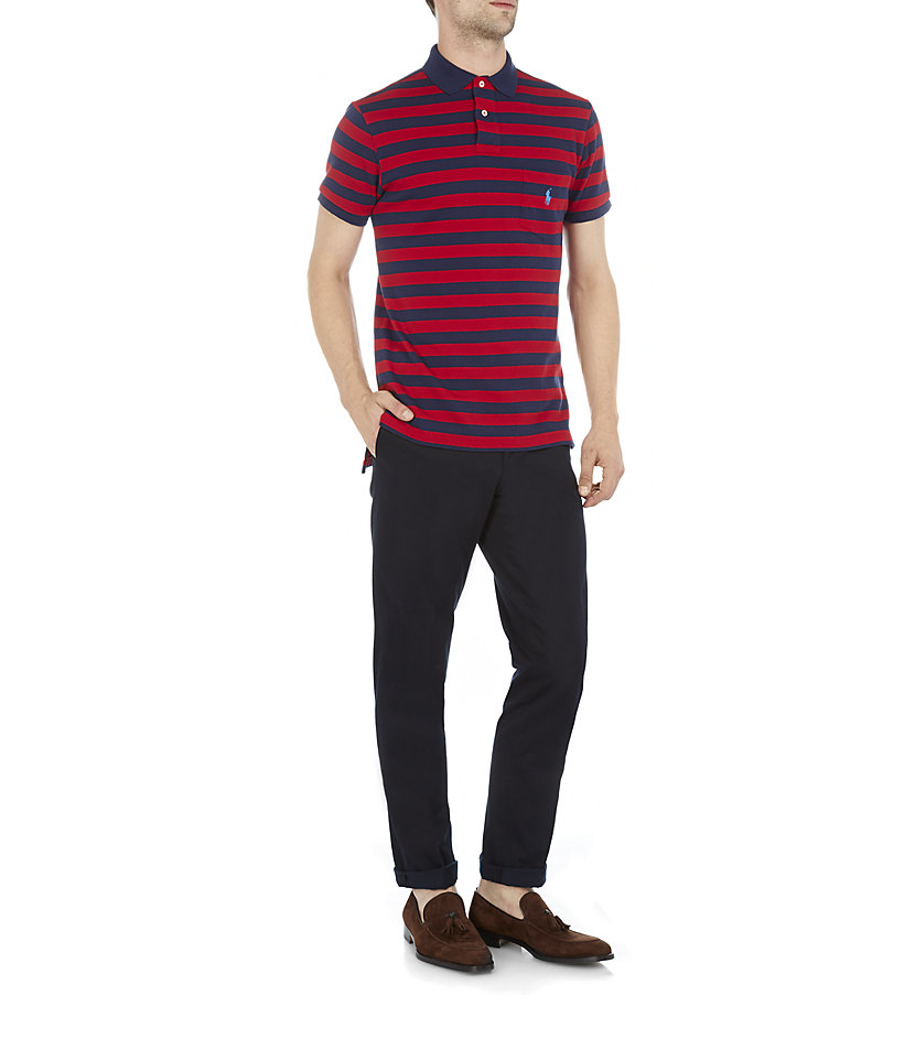 polo ralph lauren striped pocket polo shirt in red for men lyst. Black Bedroom Furniture Sets. Home Design Ideas