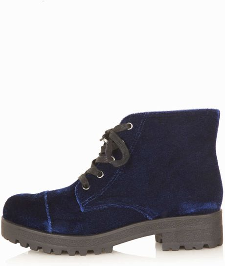 topshop maxwell heavy sole ankle boots in blue navy blue