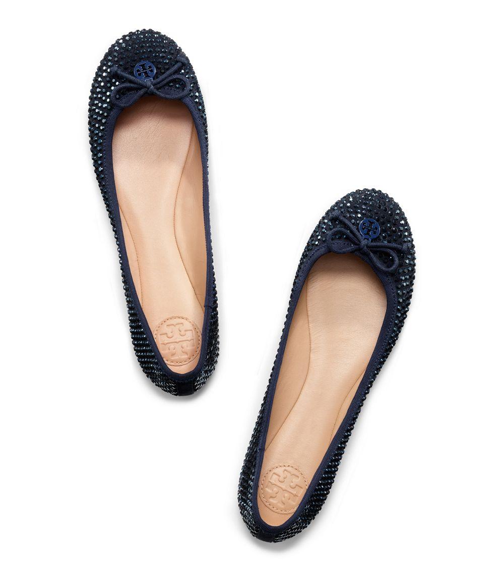1c797eed398f ... order lyst tory burch crystal chelsea ballet flat in blue 07b57 09d7c