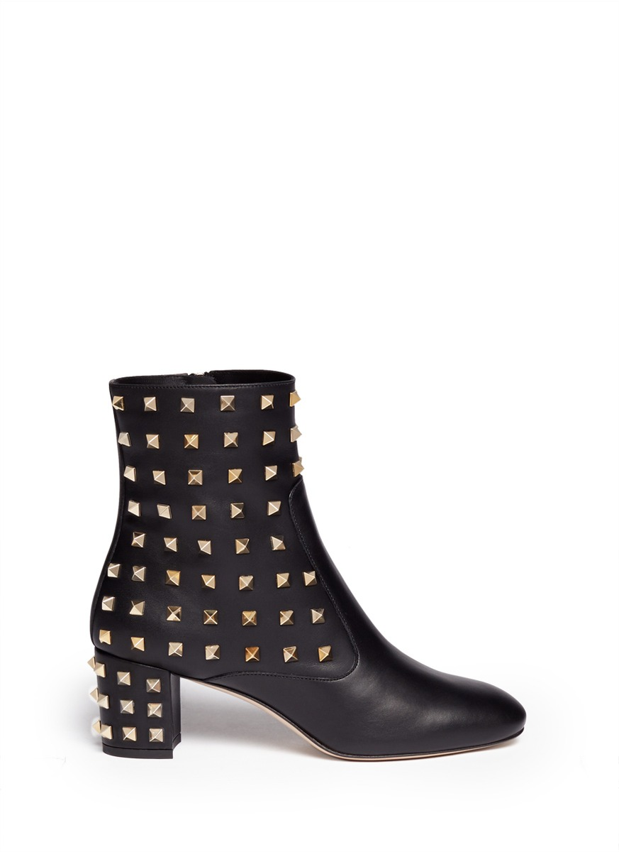 valentino studded leather boots in black lyst