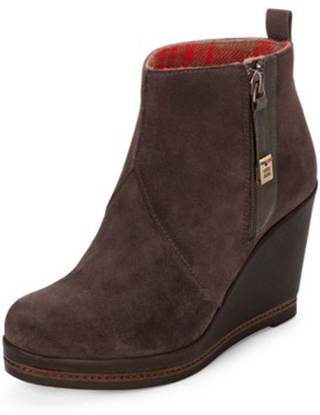 tommy hilfiger tommy hilfiger natalie wedge ankle boot in brown. Black Bedroom Furniture Sets. Home Design Ideas