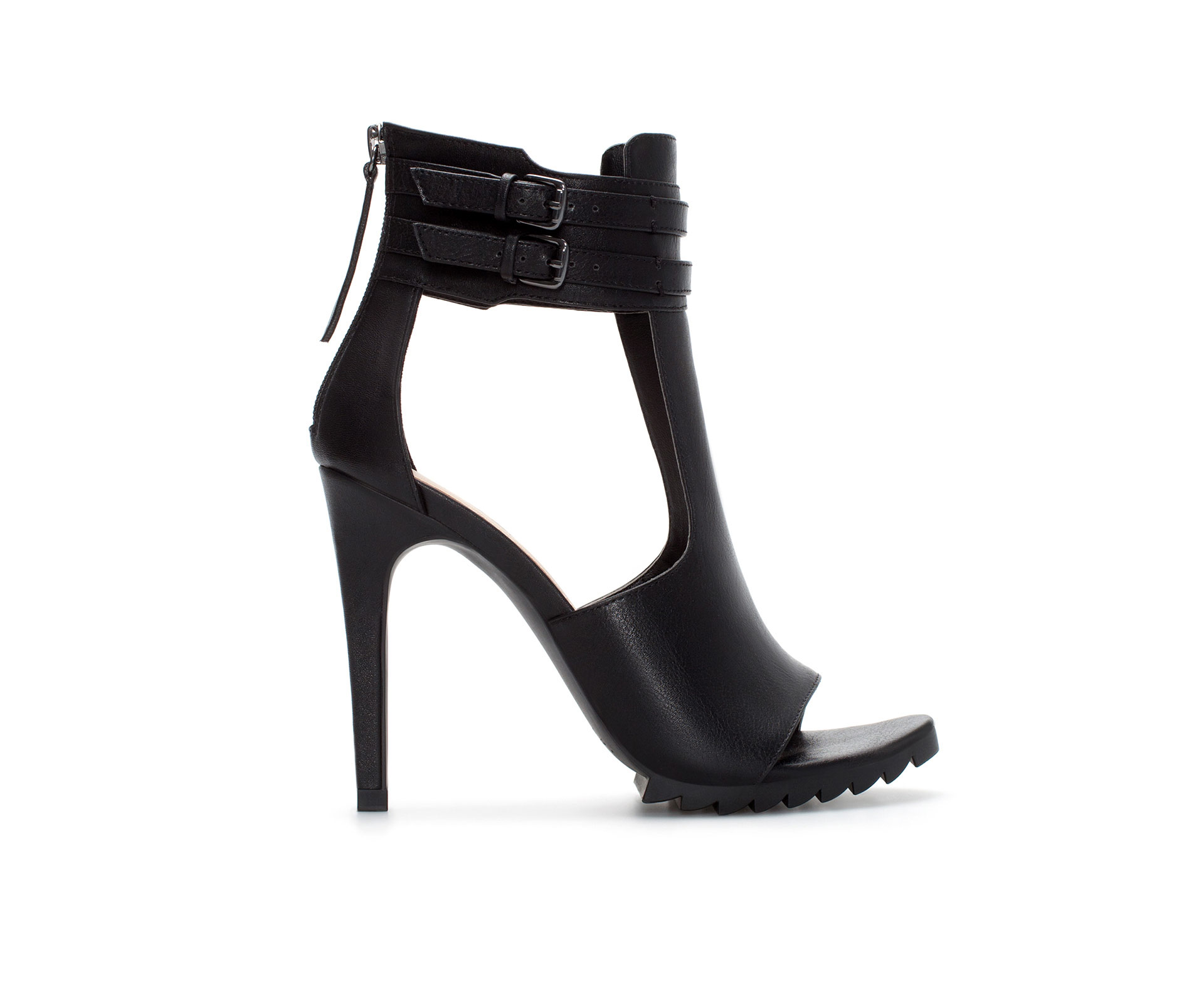 Zara High Heel Tbar Sandal with Buckled Ankle Strap in Black | Lyst