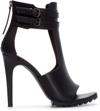 Zara High Heel Tbar Sandal with Buckled Ankle Strap - Lyst