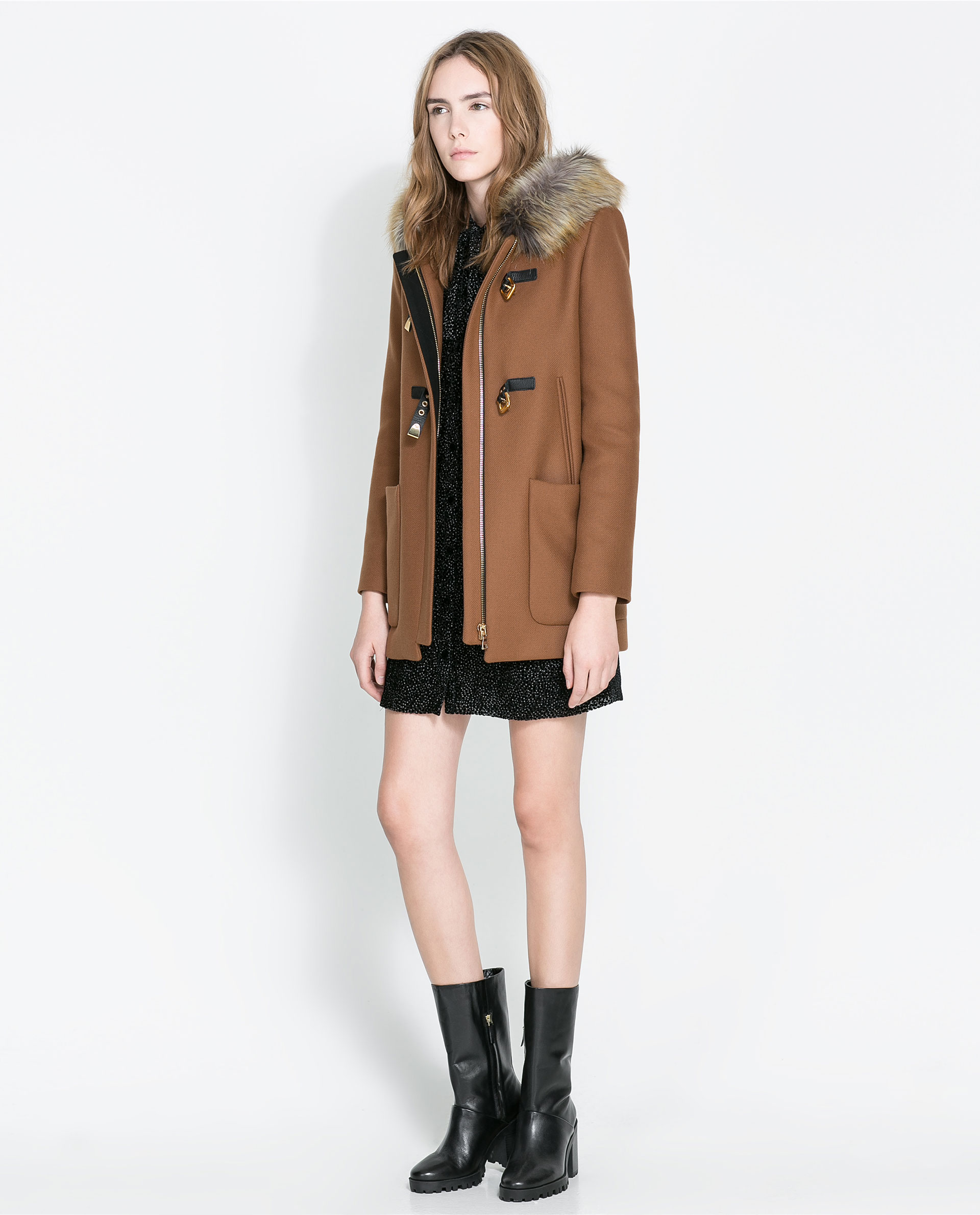 Zara Duffle Coat with Fur Hood in Brown | Lyst