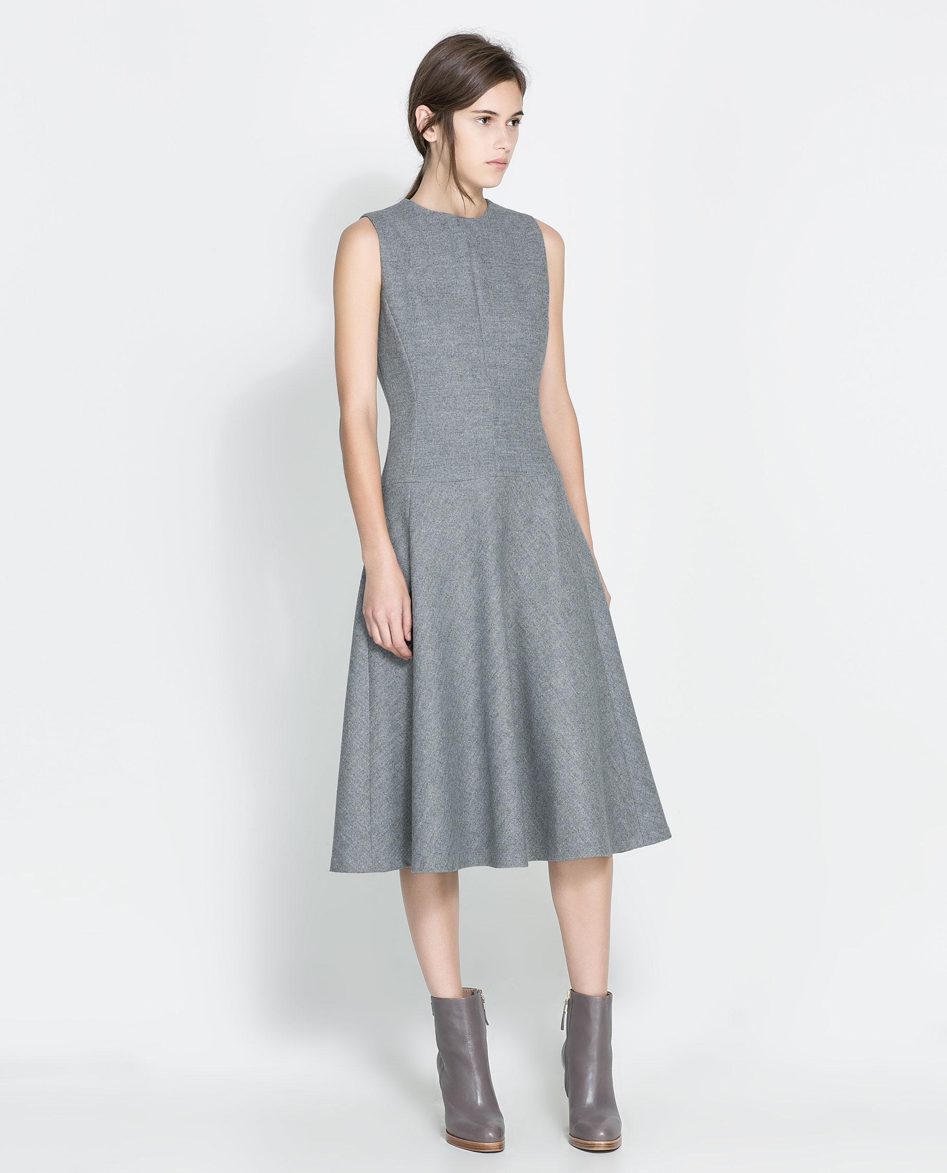 Grey Dress: Zara Woollen Dress In Gray