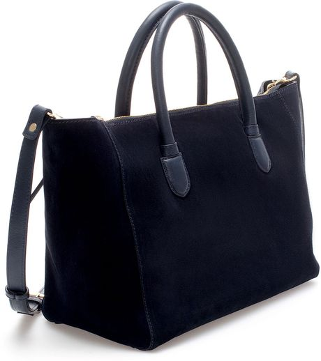 Zara Suede Shopper Bag in Blue (Navy blue)