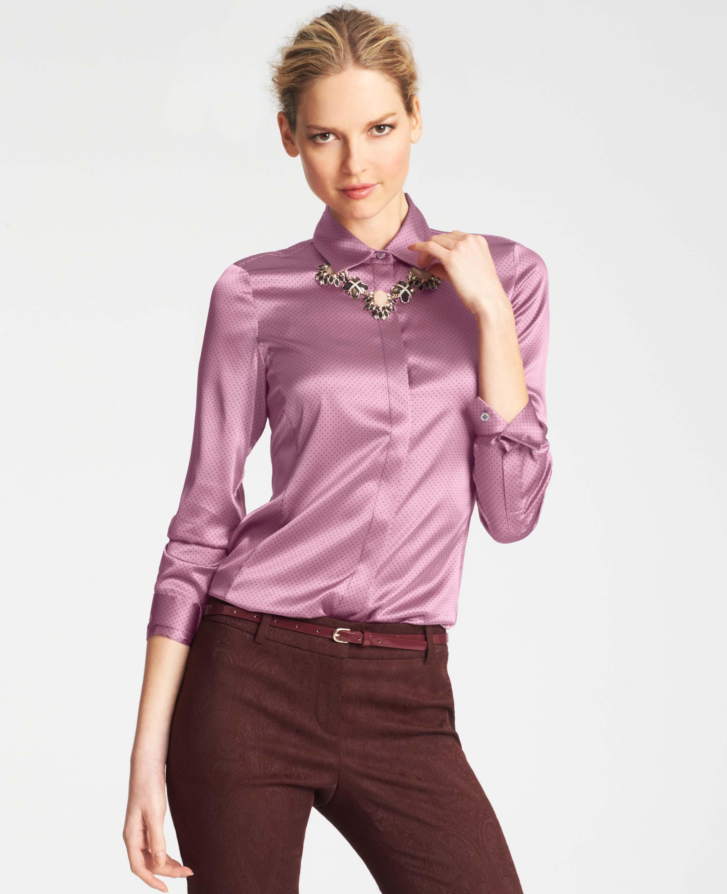6234070c8facbf Lyst - Ann Taylor Pin Dot Silk Legacy Blouse in Pink