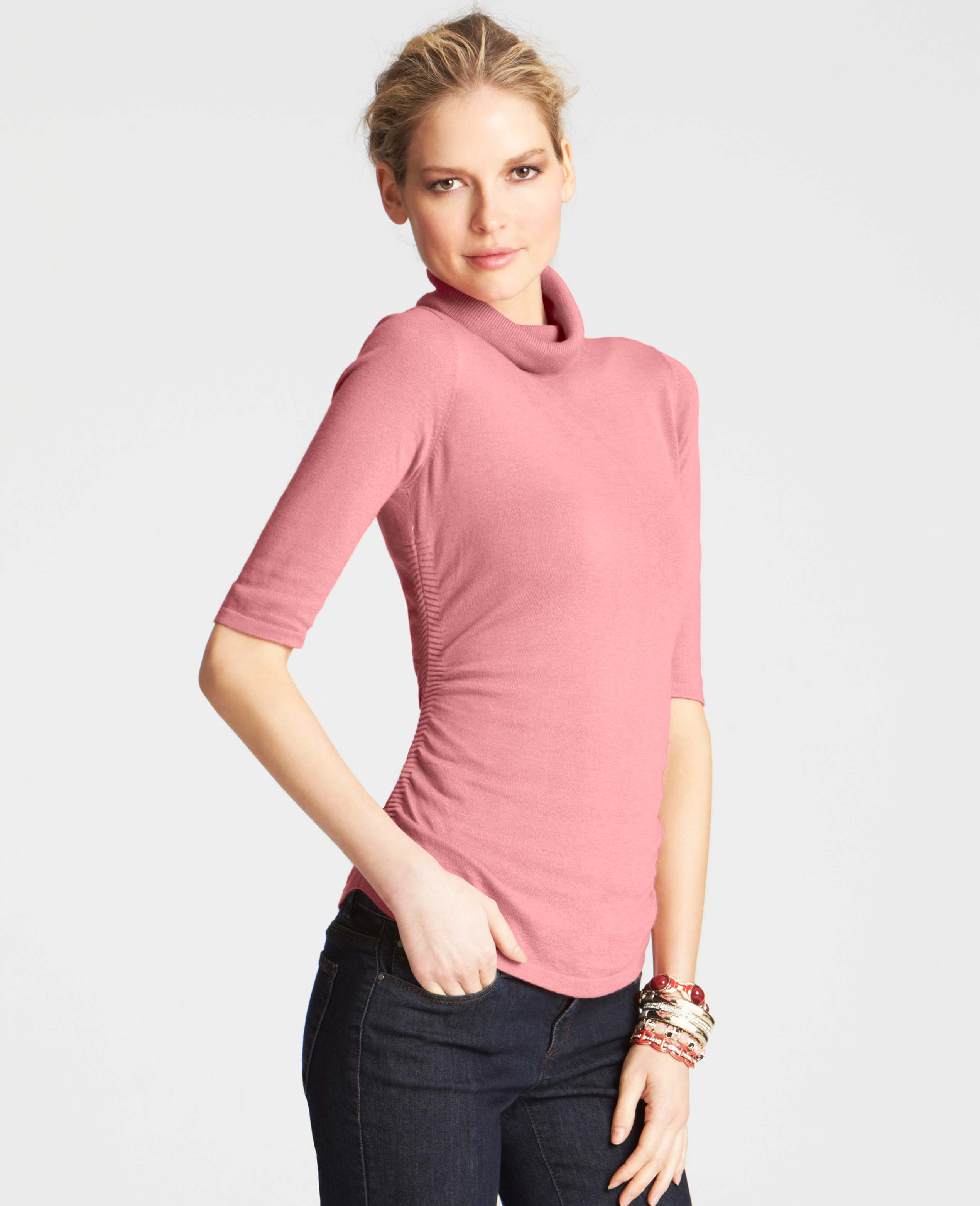 Ann taylor Ruched Short Sleeve Turtleneck Sweater in Pink | Lyst
