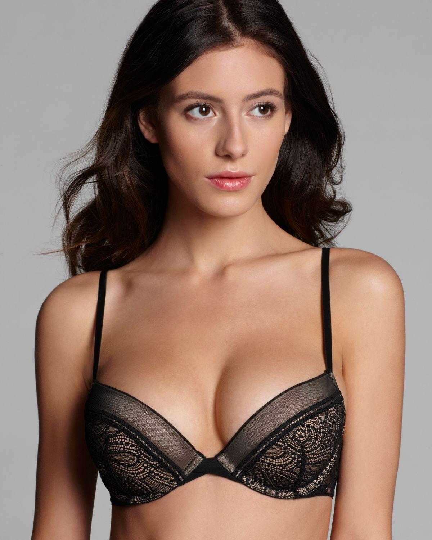 741f9f055dc24 Lyst - Calvin Klein Bra Black Label Flirty Push Up in Black