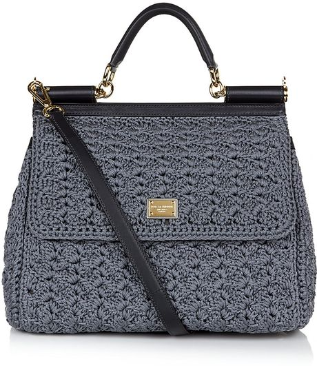dolce gabbana miss sicily classic crochet bag in gray