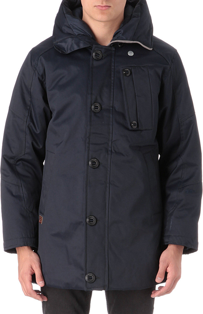 g star raw mountain hooded parka in black for men lyst. Black Bedroom Furniture Sets. Home Design Ideas