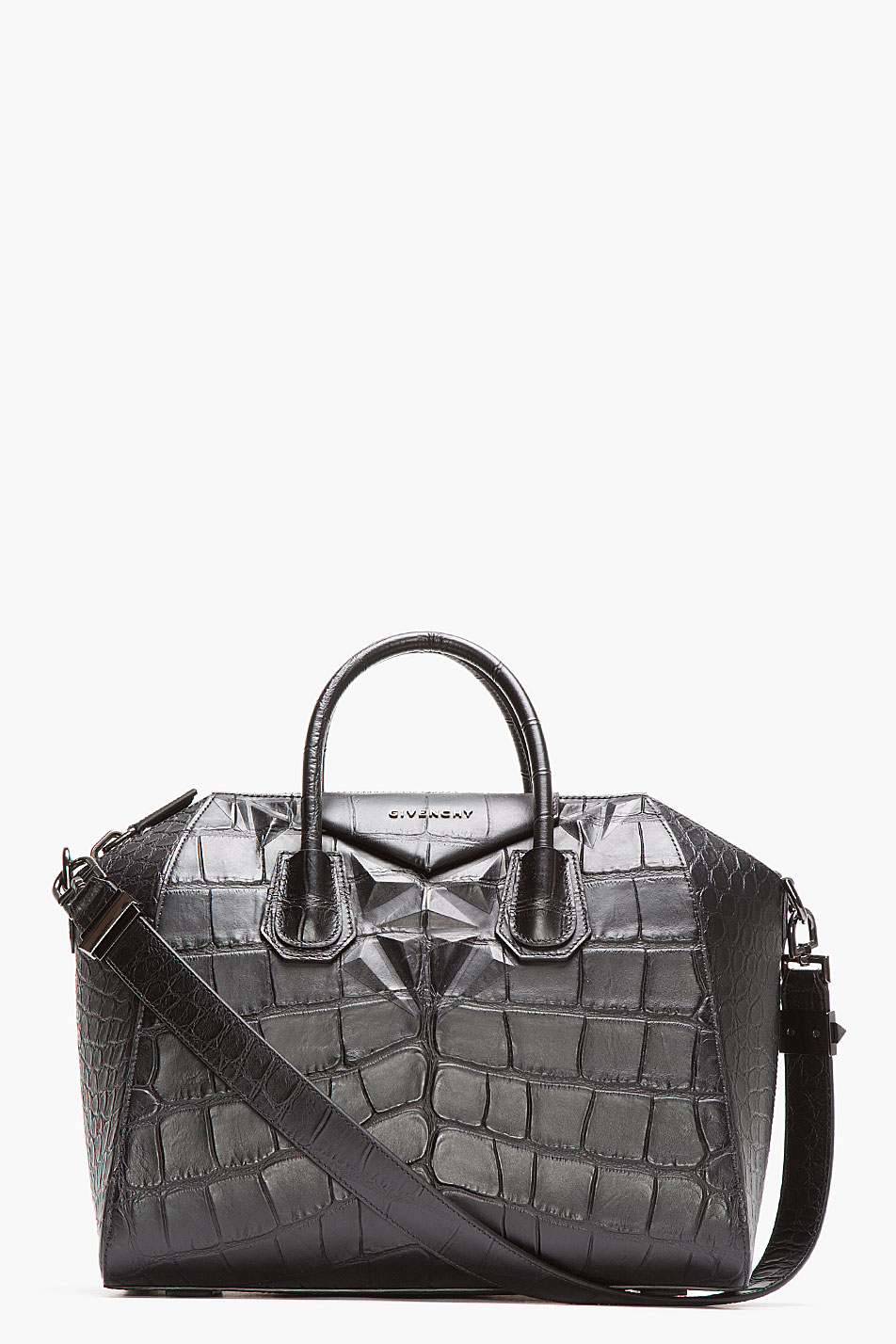 8bcca8087f Lyst - Givenchy Black Leather Croc Embossed Antigona Duffle Bag in Gray