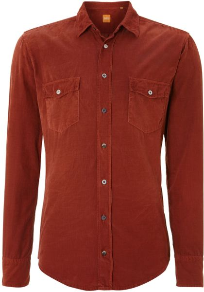 Burnt Orange Dress Shirt For Men View fullscreen. hugo