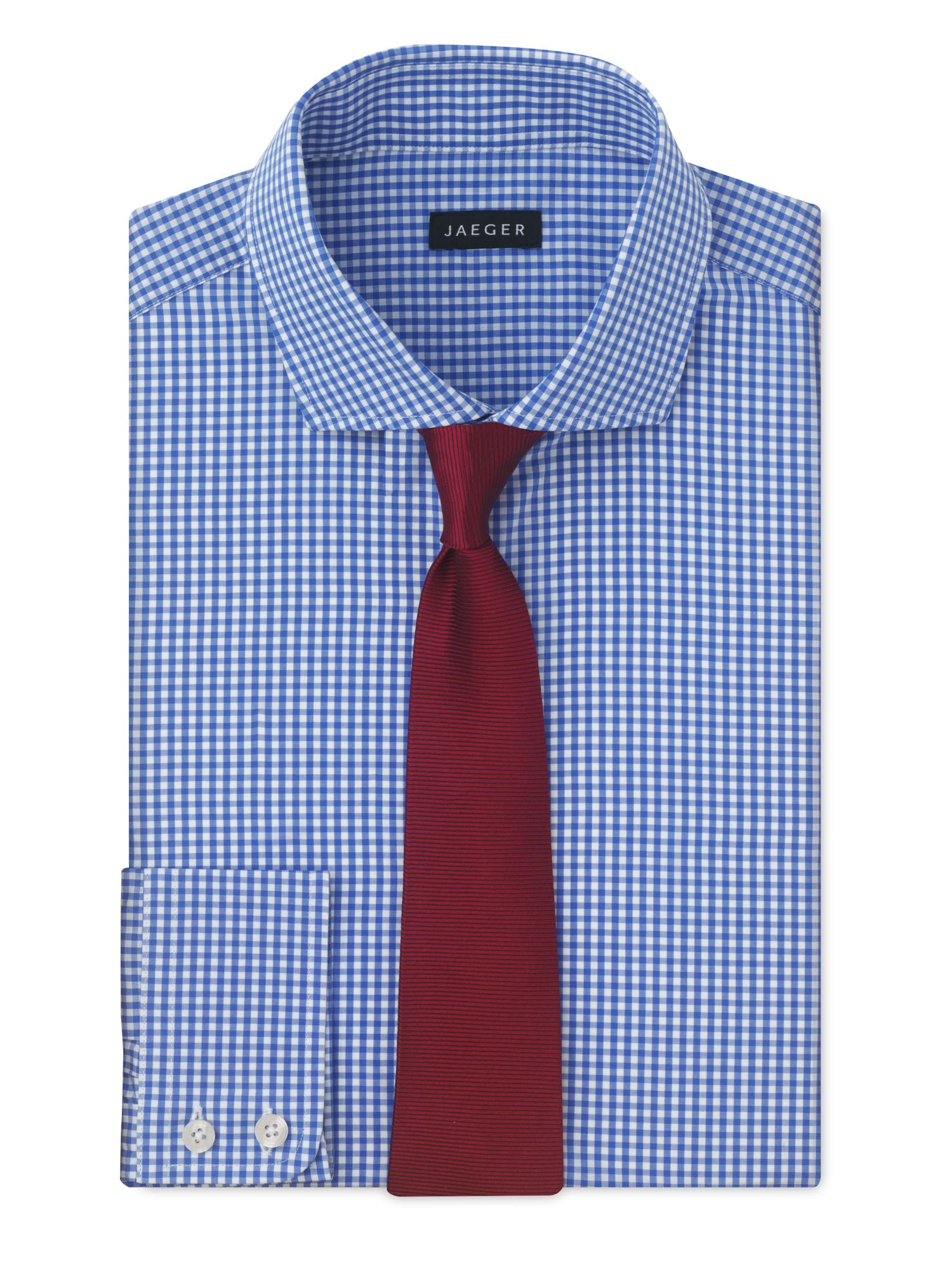 Jaeger small gingham shirt in blue for men light blue lyst for Mens blue gingham shirt