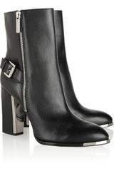 Michael Kors Janell Buckled Leather Boots - Lyst