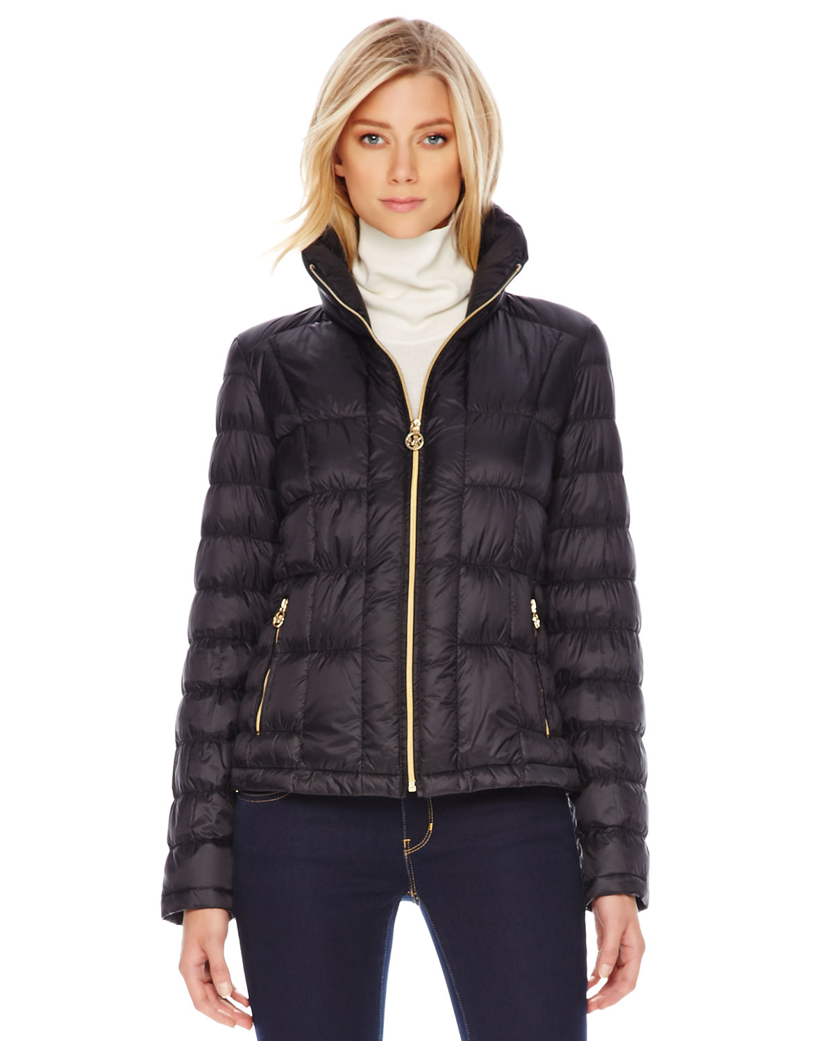 Michael kors Short Puffer Jacket in Black | Lyst