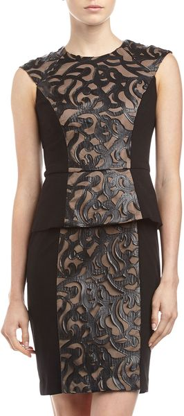 Muse Threeinone Faux Leather Peplum Dress - Lyst