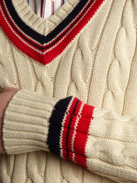 Polo Ralph Lauren Vneck Cable Knitted Cricket Jumper In