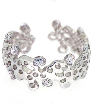 Arosha Luigi Taglia Gemstones Lace Sterling Silver Adjustable Ring - Lyst