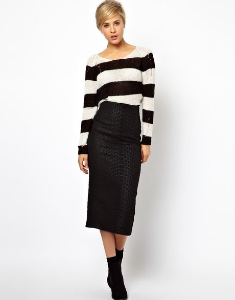 asos high waisted pencil skirt in animal jacquard in