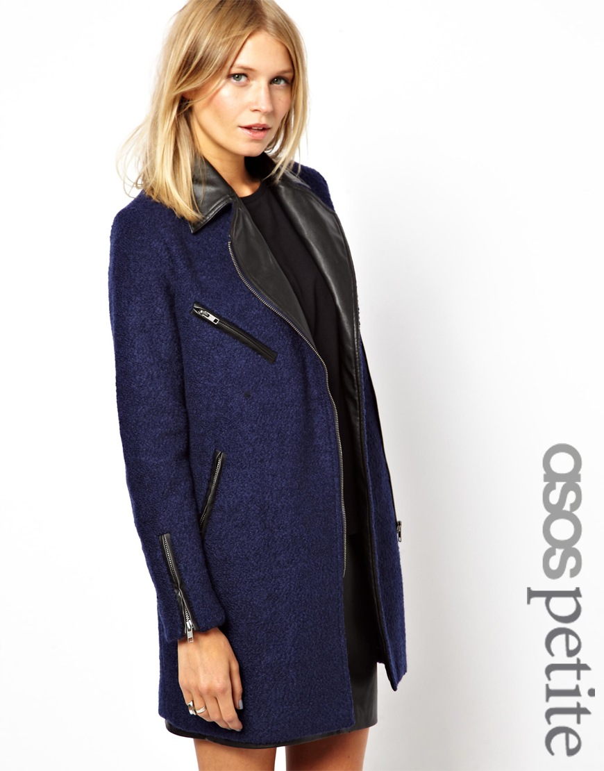 Asos Exclusive Texture Wool Biker Coat with Leather Look Collar in ...