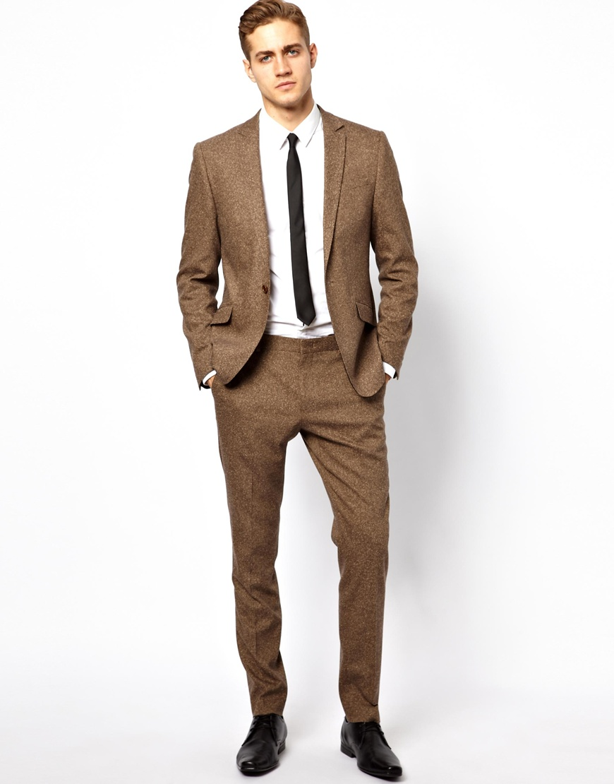 Asos Skinny Fit Suit Jacket in Fleck in Brown for Men | Lyst