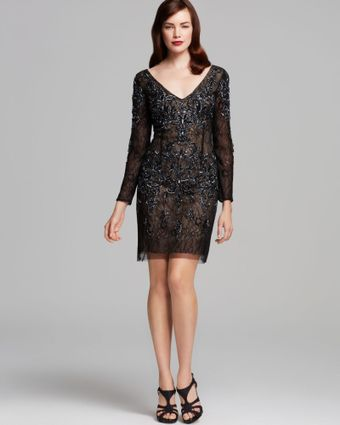 Basix V Neck and Back Beaded Dress - Lyst