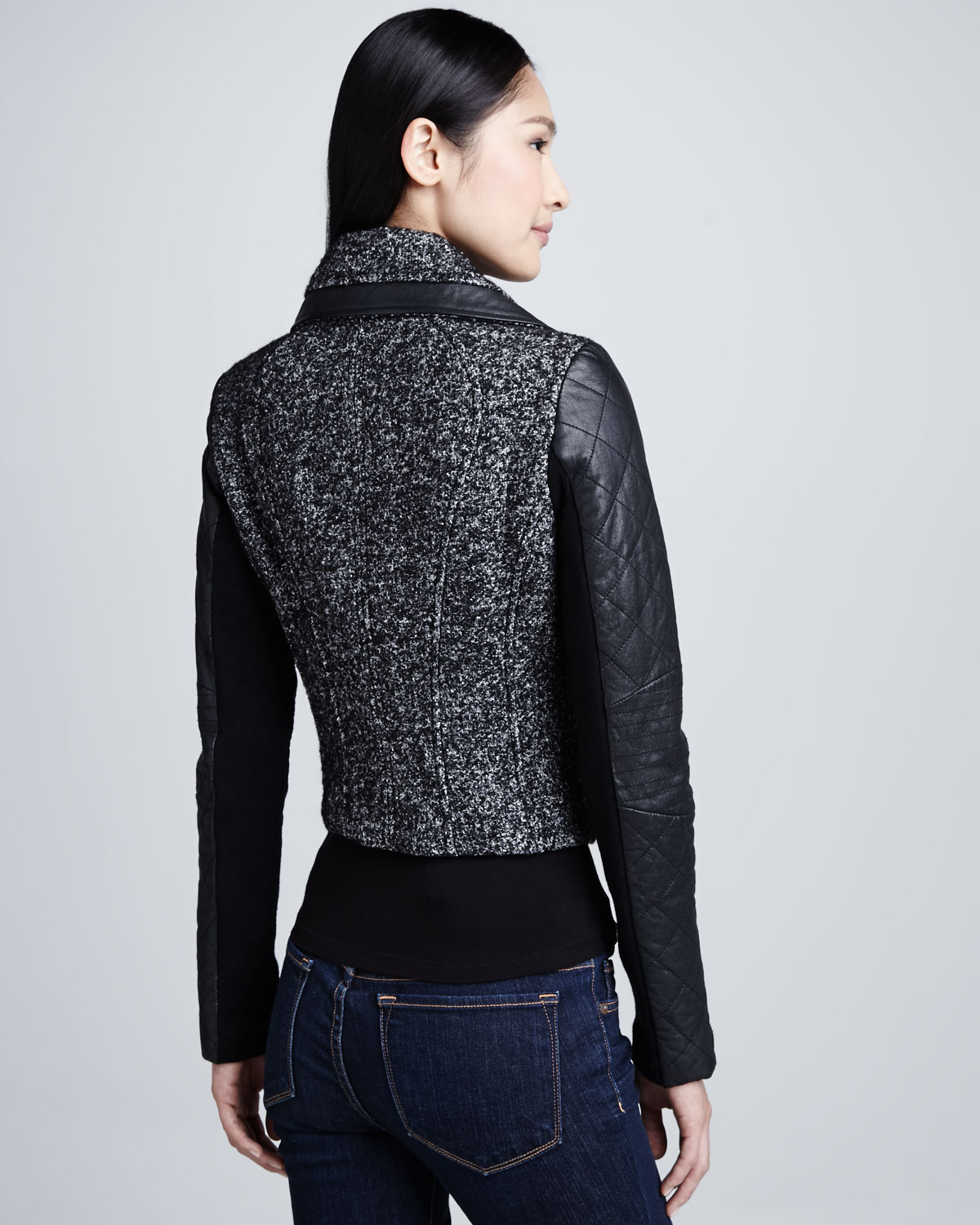Bcbgmaxazria Tweed Jacket with Leather Sleeves in Black | Lyst