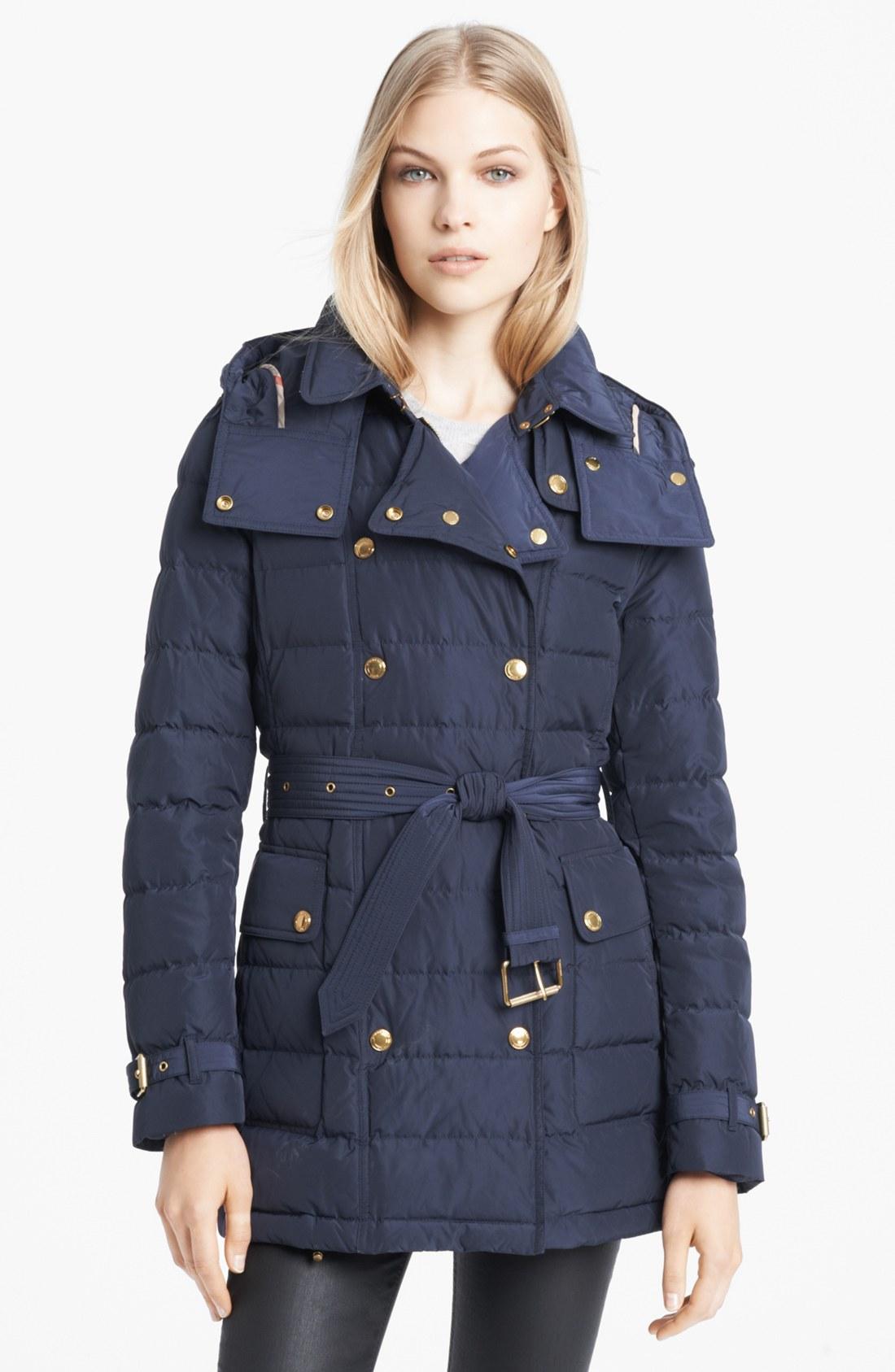 burberry brit marshlake belted goose down jacket in blue navy lyst. Black Bedroom Furniture Sets. Home Design Ideas