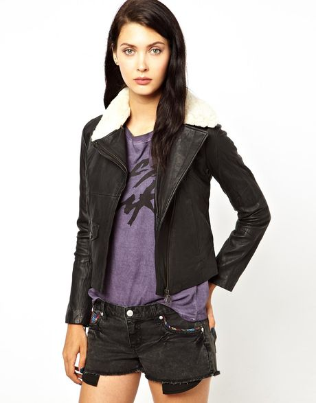 Eleven Paris Parker Leather Jacket with Removable Sheepskin Collar in