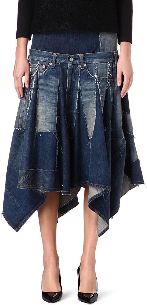 Junya Watanabe Drop Waist Denim Flared Hem Skirt In Blue