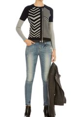 Karen Millen Graphic Chevron Knit Cardigan - Lyst