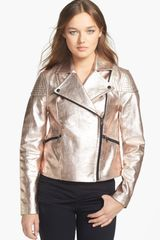 Marc By Marc Jacobs Celeste Metallic Leather Moto Jacket - Lyst
