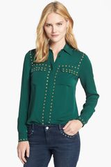 Michael by Michael Kors Studded Silk Blouse - Lyst