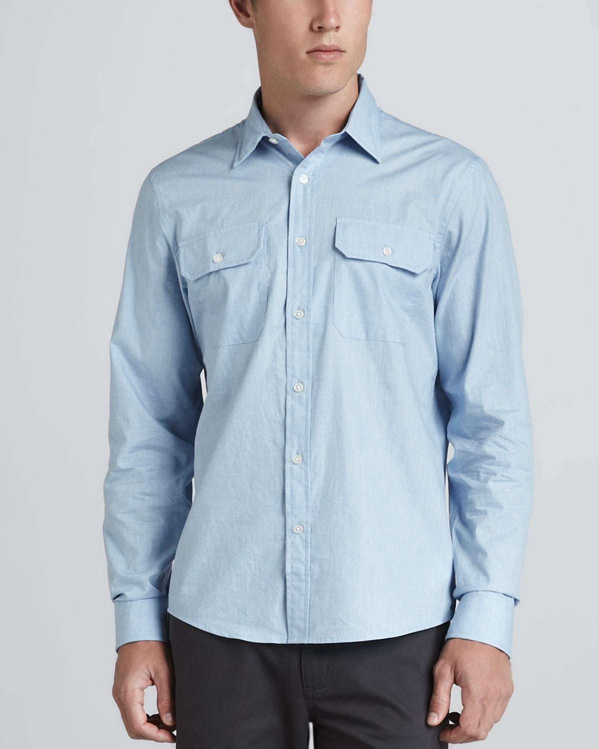 michael kors double pocket shirt in blue for men light blue lyst. Black Bedroom Furniture Sets. Home Design Ideas