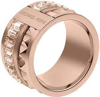 Michael Kors Rose Gold tone Pyramid Barrel Ring - Lyst