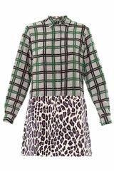 MSGM Contrastprint Silk Dress - Lyst