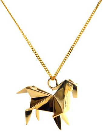 Origami Jewellery Necklace Horse Gold Plated Silver - Lyst