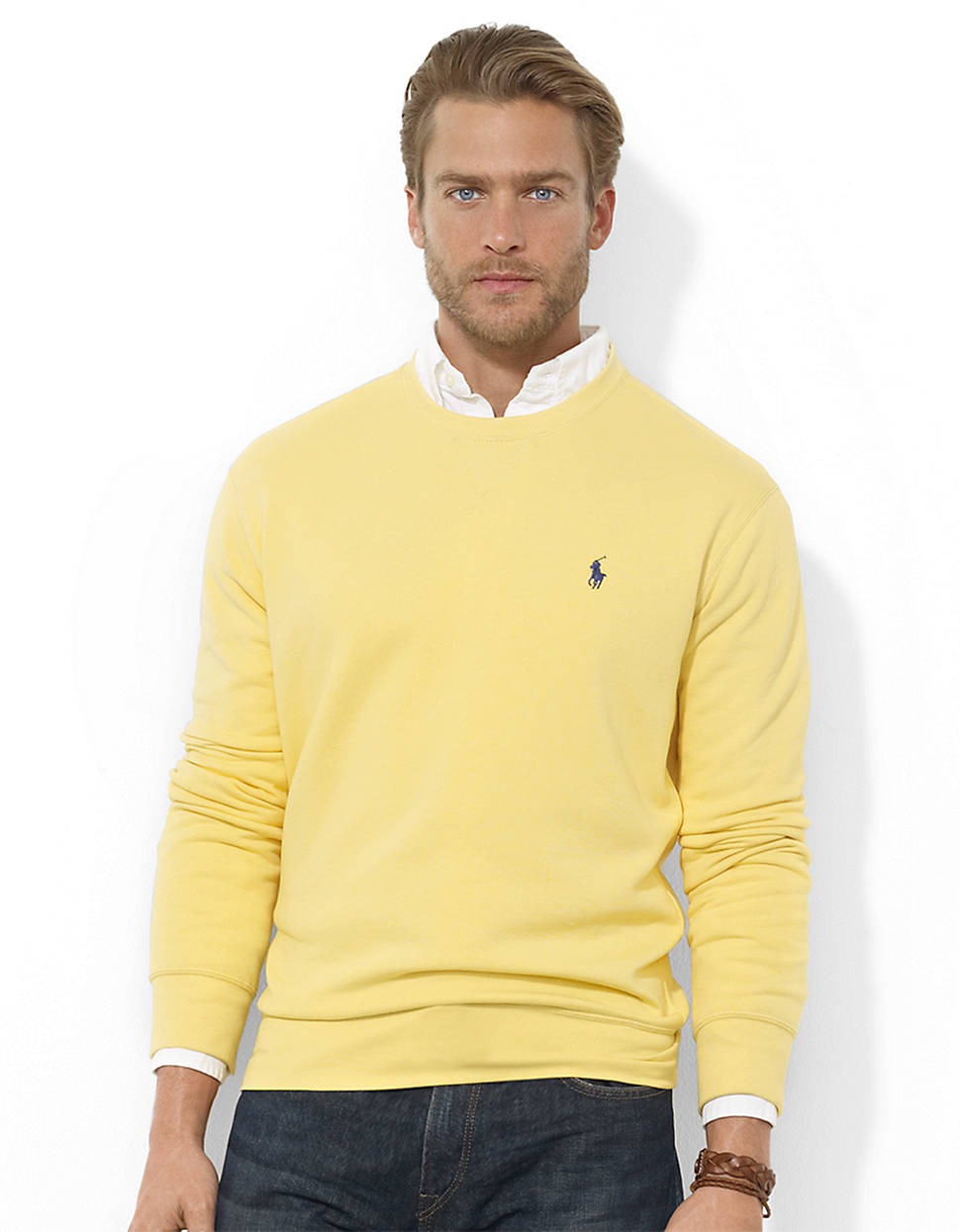 Polo ralph lauren Fleece Crewneck Pullover in Yellow for Men | Lyst