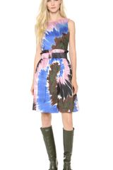 Rodarte Tie Dye Silk Belted Dress - Lyst