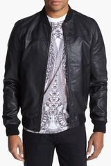 Topman Leather Bomber Jacket - Lyst