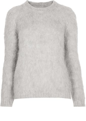Topshop Knitted Brushed Funnel Jumper - Lyst